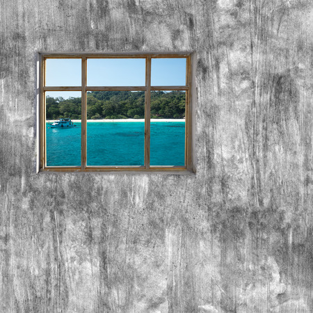 windows frame: windows frame on cement wall and view of seascape Stock Photo