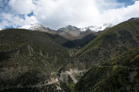 shangrila: mountain and road form Kunming to Shangri-la, China