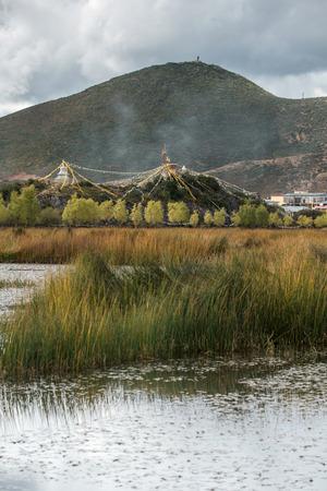 shangrila: Natural trail near Songzanlin temple- Tibetan Monastery in Shangrila, Yunnan, China