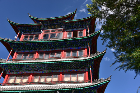 lou: Wangu lou tower on the top of Lion hill, Lijiang , Yunnan China Stock Photo
