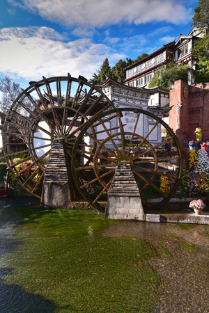 watermill: Watermill in Lijiang, Yunnan, China.It is the Lijiang old town signs.