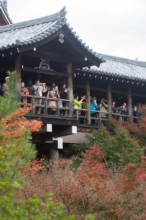 nov: KYOTO, JAPAN - NOV 28, 2015: Many tourists visit the Tofukuji Temple in autumn , Kyoto Japan