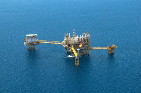 Offshore construction platform for production oil and gas, Aerial view.