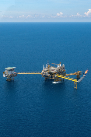 construction platform: Offshore construction platform for production oil and gas, Aerial view.