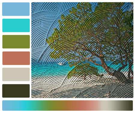 branching: seascape print on wall with color palette swatches Stock Photo