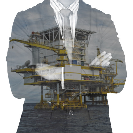 extracting: bussinessman and rig double exposure concept