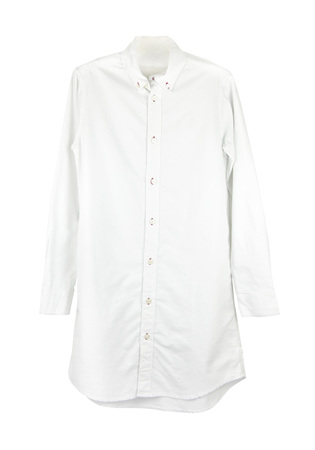 view an elegant wardrobe: white shirt with long sleeves isolated on white background