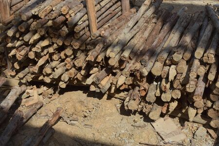 strengthening: wood stack in construction siet Stock Photo
