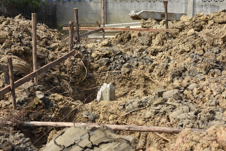 substructure: The concrete pile at the construction site Stock Photo