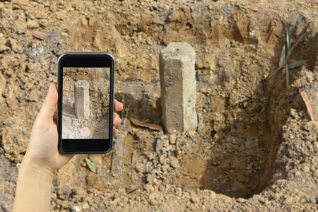 substructure: take photography with smart phone concrete pile at the construction site