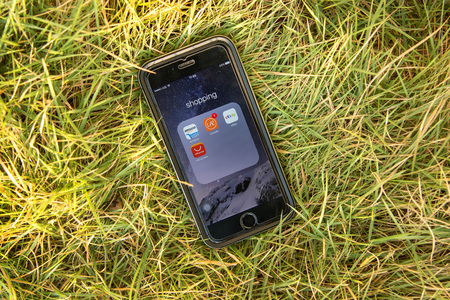 ebay: NAKORN PATHOM, THAILAND - FEB 15, 2016: top view screen shot of shopping apps showing on iPhone6 on grass