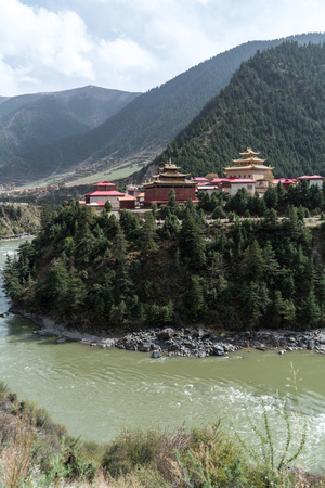 atmospheric pressure: monastery inclose mountain a famous landmark in Ganzi, Sichuan, China