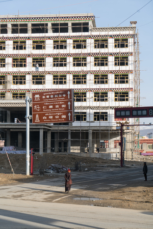architectural tradition: Garze, China - April 30, 2016: cityscape and buildings in Garze, Sichuan, China