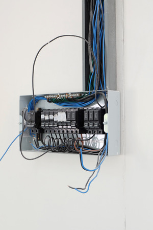 setup electrical wiring in the control cabinet at new house stock rh 123rf com New Home Electrical Wiring wiring new house technology