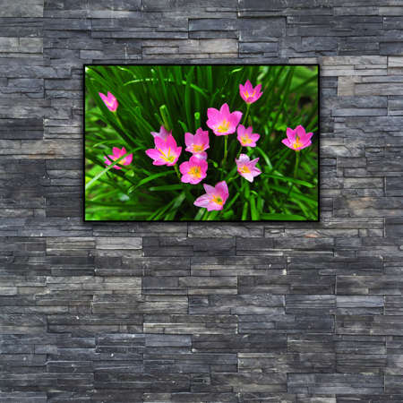 nature photo: black brick wall texture. stonewall pattern design for decorated and interior with nature photo frame