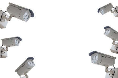 nightvision: cctv camera isolated on white background with copyspace Stock Photo