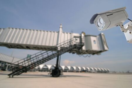 suvarnabhumi: CCTV camera with background of architecture detail of Bangkok Airport in Thailand Stock Photo
