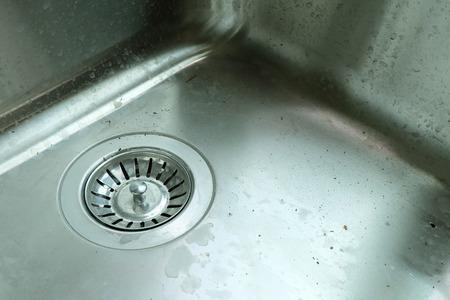 hygeine: dirty stainless steel kitchen sink