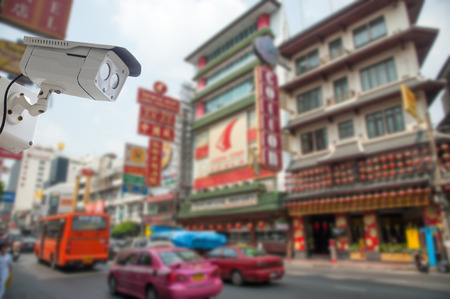 nightvision: cctv camera with china town, Bangkok blur background Stock Photo