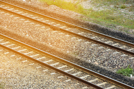 split rail: Vintage retro hipster style. Railway track. Stock Photo
