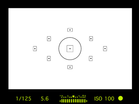 camera viewfinder with exposure and camera settings. Stock Photo