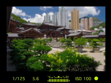 camera viewfinder with exposure photo and camera settings. Stock Photo