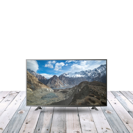 modern monitor LCD on wooden table with white copy space Stock Photo