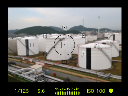 industrail: camera viewfinder with exposure photo and camera settings. Stock Photo