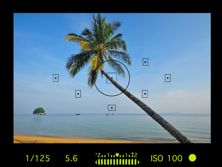 viewfinder vintage: camera viewfinder with exposure photo and camera settings. Stock Photo
