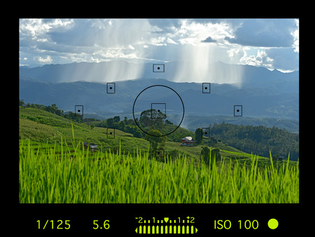 Viewfinder camera with information display. terraced rice field on Mountain, Pa Pong Piang village, Chiang mai Province, Northern of Thailand