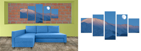 hi resolution: blue sofa furniture and nature photo collage on brick wall. Hi resolution photo complementary with clipping path
