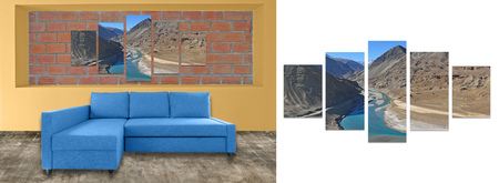 complementary: sofa furniture and photo collage on brick wall. Hi resolution photo complementary with clipping path