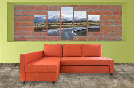 complementary: sofa furniture and nature photo collage on brick wall. Hi resolution photo complementary with clipping path Stock Photo