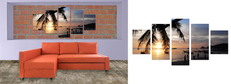 complementary: orange sofa furniture and nature photo collage on brick wall. Hi resolution photo complementary with clipping path Stock Photo