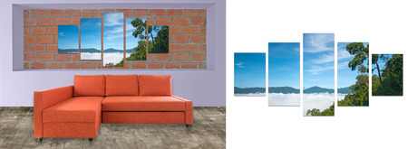 hi resolution: orange sofa furniture and nature photo collage on brick wall. Hi resolution photo complementary with clipping path Stock Photo
