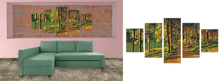 hi resolution: sofa furniture and photo collage on brick wall. Hi resolution photo complementary with clipping path