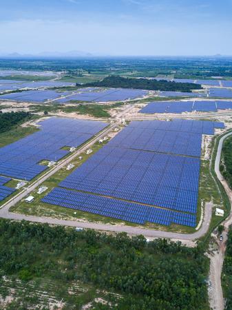 solar farm: Solar farm, solar panels from aerial, Thailand