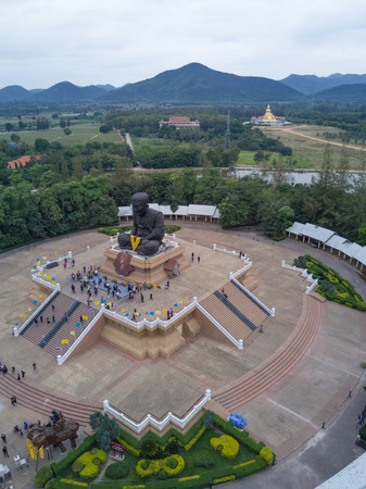 aerial view of sculpture of revered Buddhist monk Luang Pu Thuat at Wat Huay Mongkol in Hua Hin Thailand