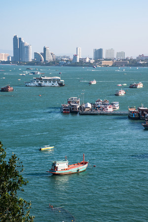 Aerial view of  Bali Hai pier and the core of the Pattaya city, Chonburi, Thailand Stock Photo