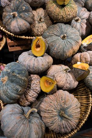 pumkins texture background on the brown basket in modern market Stock Photo