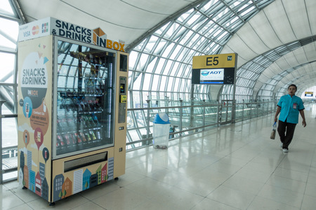 Bangkok,Thailand - January 17,2017: Snacks and drinks automatic machine in Suvarnabhumi Airport in Bangkok ,Thailand. This airport is the worlds third largest single building airport terminal designed by Helmut Jahn.