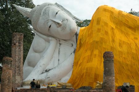 Angthong-THAILAND, JANUARY 6, 2017: tourist in Wat Khun Intha Pramun temple at at Angthong Province, Thailand Editorial