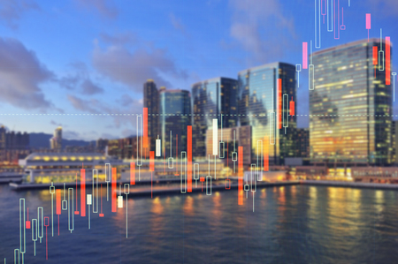 csr: building cityscape with investment market stock double exposure concept Stock Photo