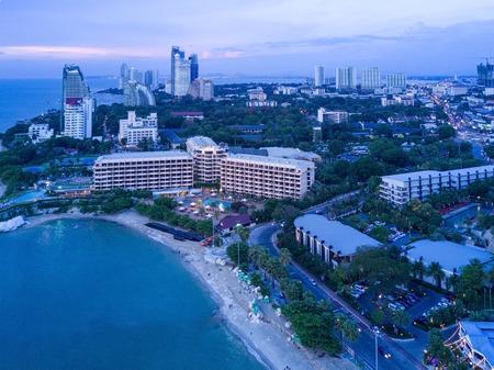 twilight Skyline of Pattaya from aerial view, Pattaya city, Chonburi, Thailand. Stock Photo