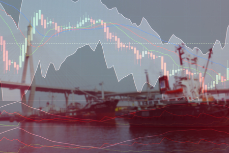 cargo boat in the river with investment market stock double exposure concept 版權商用圖片 - 75048273