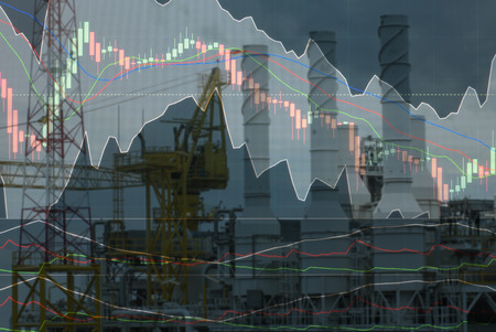 'rig out': out focus offshore rig with investment market stock double exposure concept