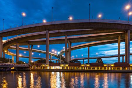 King Rama9 bridge and river  in Bangkok Thailand