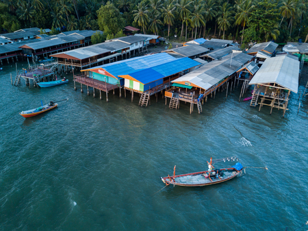 Aerial view of Koh Phitak fishing village, Chumphon, Thailand. Фото со стока