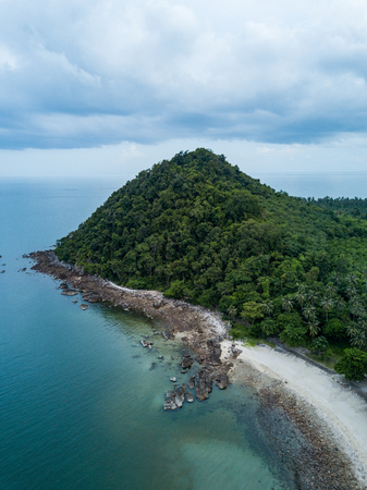 Aerial view of Koh Phitak fishing village, Chumphon, Thailand. Stock Photo