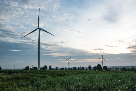 environmental issues: Wind turbines generating electricity. energy conservation concept Stock Photo